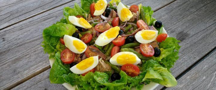 Salade nicoise: boontjes en sla
